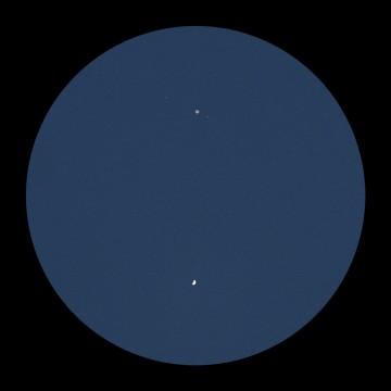 Venus and Jupiter through a telescope