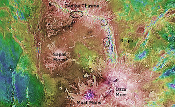 The rift Ganiki Chasma can be seen near the top of this image. The three hot spot locations are circled.  NASA / S&T: Gregg Dinderman