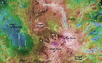 Venus as revealed by the Magellan spacecraft. This image focuses roughly on the equator and longitudes from 175°E to 215°E. The central volcano is Maat Mons. The hotspots were imaged along the rift above Maat Mons, known as Ganiki Chasma (labelled in white). NASA / S&T: Gregg Dinderman