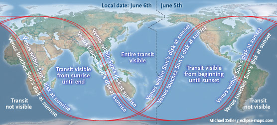 Where to see the transit of Venus