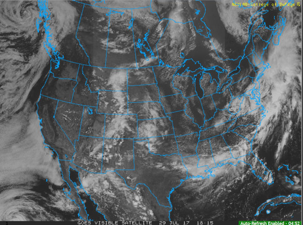 Visible satellite image of U.S.