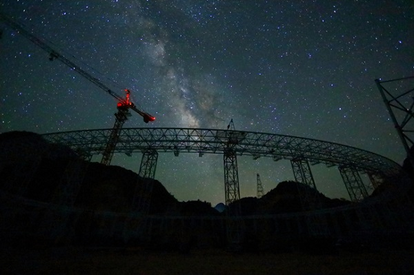 FAST radio telescope at night