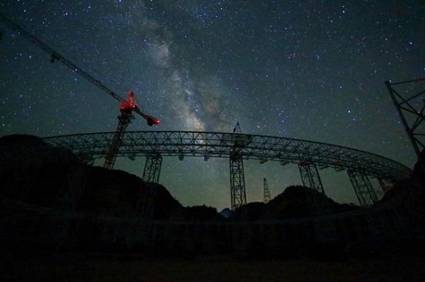 FAST radio telescope at night