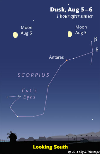 Moon over Antares and Scorpius