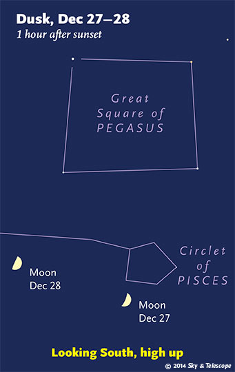 At this time of year, the Moon always reaches first-quarter phases when it's near the Great Square of Pegasus.