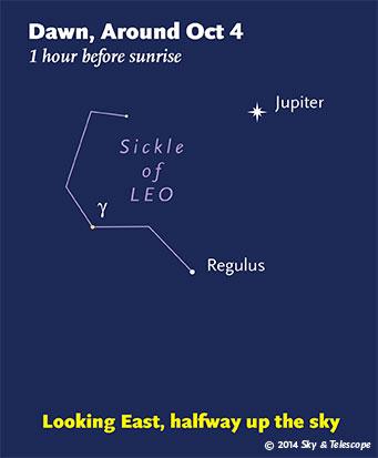 Jupiter and Regulus before dawn, October 2014