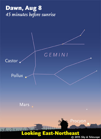 Mars below Castor and Pollux at dawn, August 8, 2015.