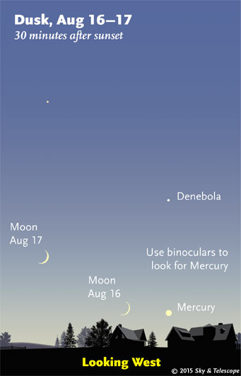 Moon and Mercury at dusk, Aug. 16-17, 2015