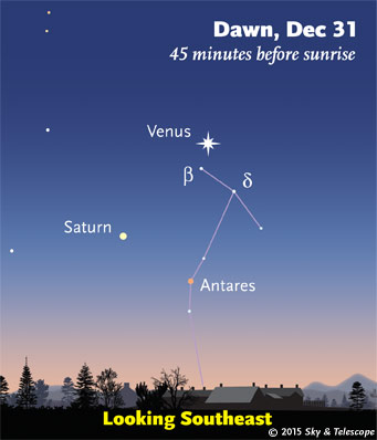 Venus, Saturn, and Antares at dawn, Dec. 31, 2015.