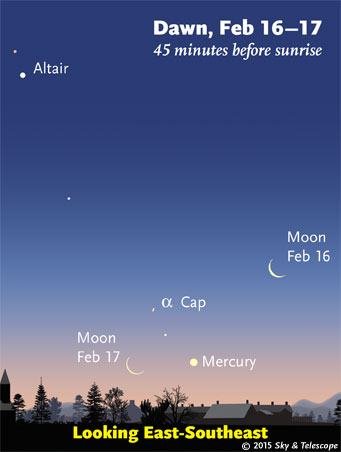 Mercury glimmers low in the east-southeast at dawn this week. On the morning of Monday the 16th, the waning crescent Moon guides your way down to it. (The visibility of faint objects in bright twilight is exaggerated here.)