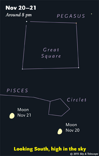 Moon and Great Square of Pegasus, Nov 20-21, 2015.