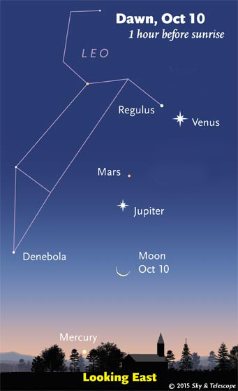 Venus, Mars, Jupiter, Moon on the morning of Oct. 10, 2015