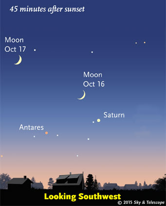 The waxing crescent Moon guides the way to Saturn and Antares in twilight, Oct 16-17, 2015