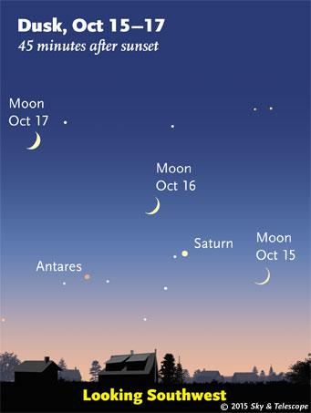 Moon, Saturn, Antares at dusk, Oct. 15-17, 2015