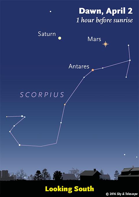 Mars, Saturn, and Antares at dawn, early April 2016