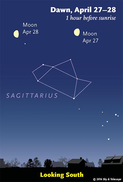 Moon and Sagittarius Teapot, April 27-28, 2016