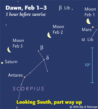 Moon and planets in early dawn, Feb. 1-3, 2016