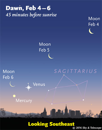 Moon, Venus, Mercury in early dawn, Feb. 4-6, 2016