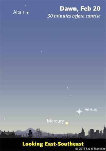 Venus and Mercury low in the dawn, Feb. 20, 2016