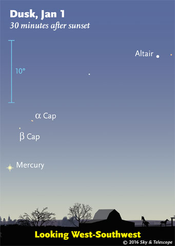 Mercury at dusk, Jan. 1, 2016