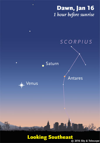 Venus and Saturn at dawn, Jan. 16, 2016