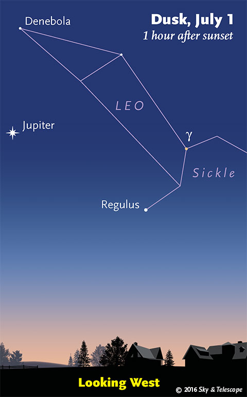 Jupiter under Leo in twilight, early July 2016