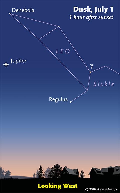 Jupiter under Leo in twilight, early July 2016