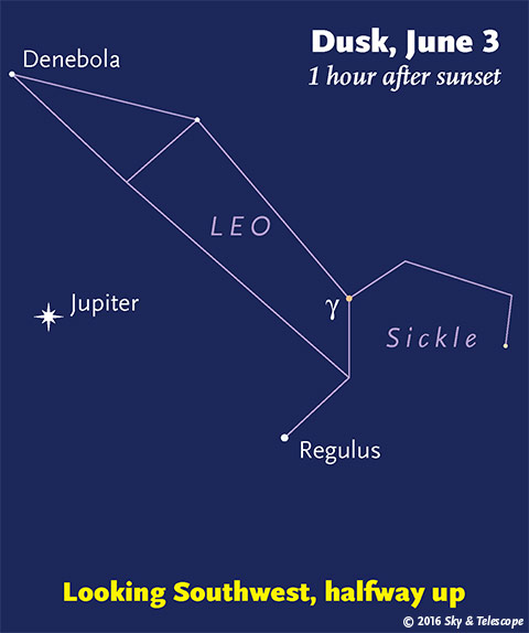 Jupiter under Leo, late May - early June, 2016
