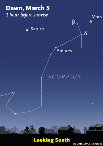 Saturn and Mars over Scorpius before dawn, early March 2016.