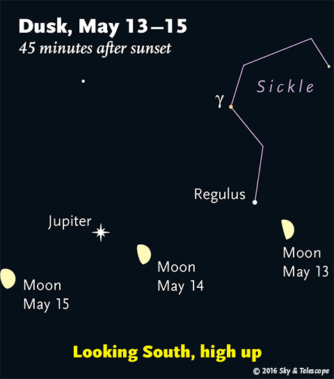 Moon, Regulus, Jupiter May 13-15, 2016
