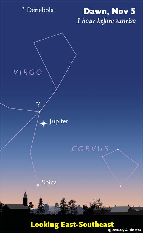 Jupiter and Spica at dawn, early November 2016