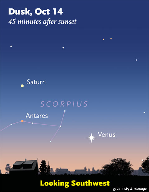 Venus, Saturn, Antares Oct. 14, 2016