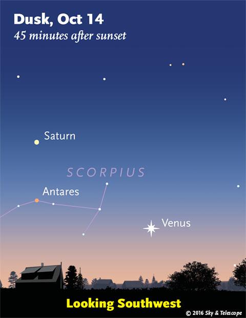 Venus, Saturn, Antares Oct. 14, 2016