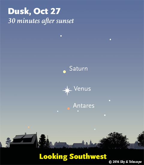 Saturn, Venus, Antares line up in twilight, Oct. 27, 2016