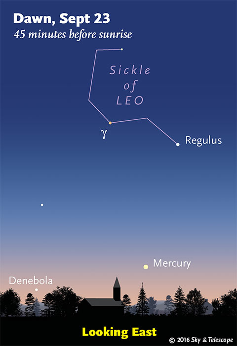 Mercury under Regulus at dawn, late September 2016