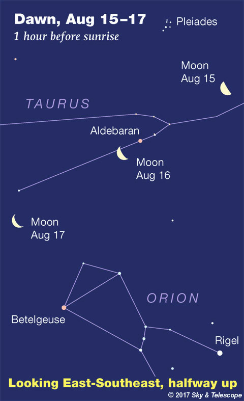 Venus, Aldebaran, Orion August 15-17, 2017