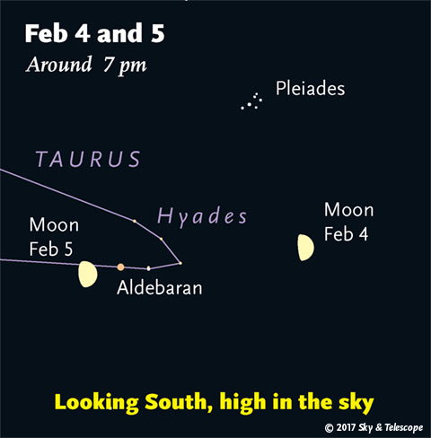 Moon near Pleiades and Aldebaran, Feb. 4-5, 2017