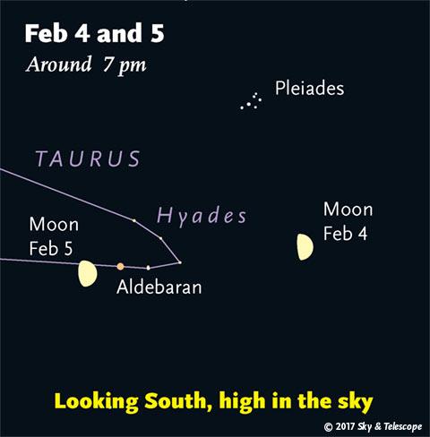 Moon near Pleiades and Aldebaran, Feb. 4-5, 2017