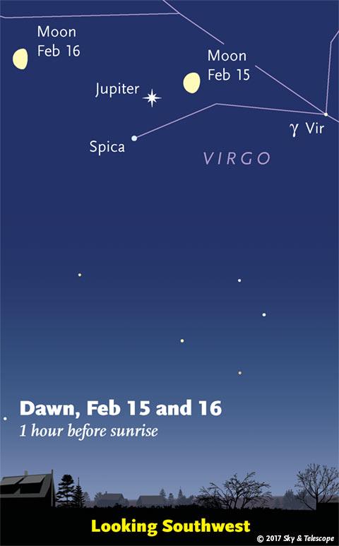 Moon and Jupiter at dawn, Feb. 15 and 16, 2017