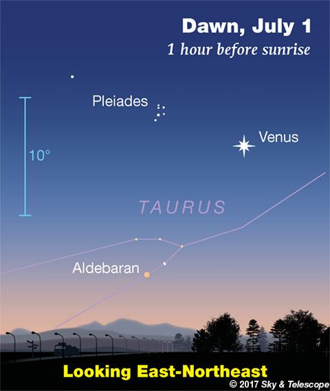 Venus, Aldebaran, Pleiades at dawn, July 1, 2017