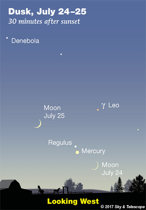 Mercury and Regulus with crescent Moon, July 24-25, 2017