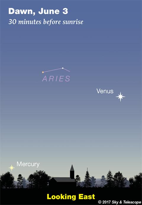 Mercury and Venus, early June 2017