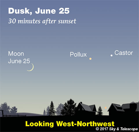 Moon, Pollux, Castor on June 25, 2017