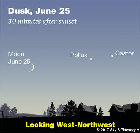 Moon, Pollux, Castor on June 25, 2017