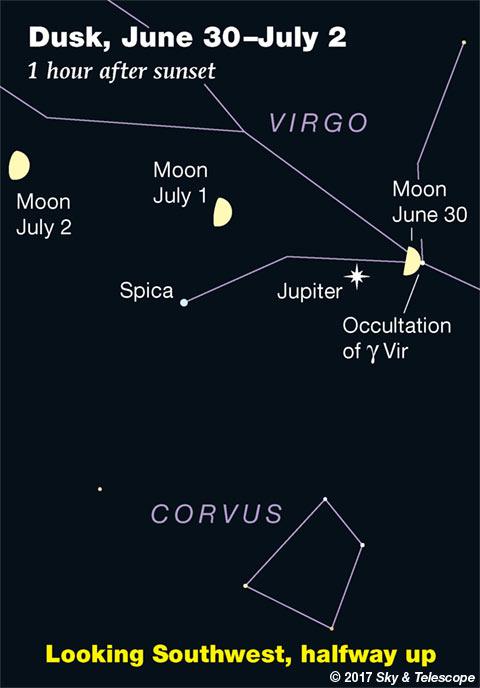 Moon, Jupiter, Gamma Virginis June 30, 2017