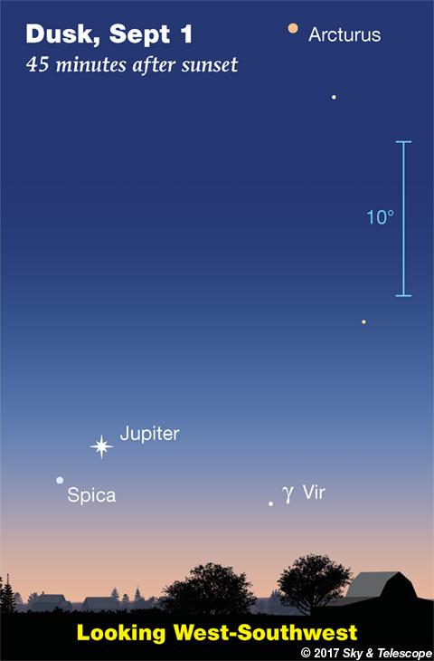 Jupiter and Spica low at dusk, Sept. 1, 2017