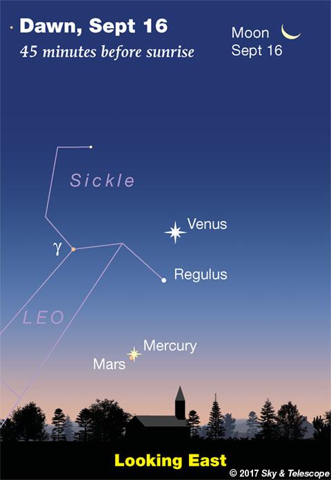 Venus, Regulus, Mercury, Mars in the dawn, Sept. 16, 2017