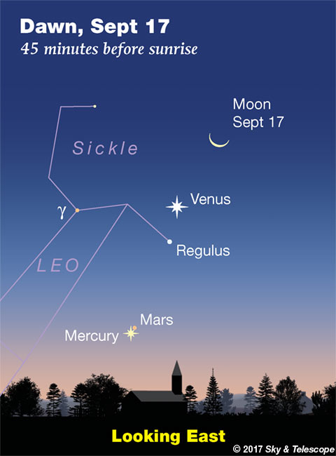 Venus, Regulus, Mercury, Mars in the dawn, Sept. 17, 2017