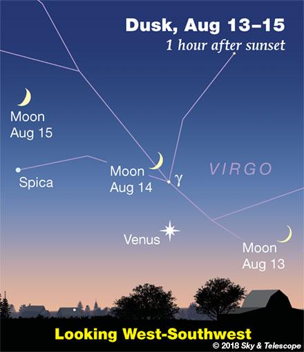 Moon and Venus, Aug. 13, 14, 15, 2018