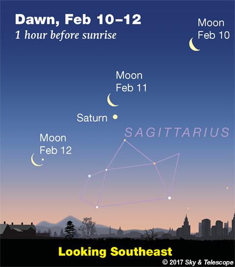 Moon and Saturn at dawn, Feb. 10, 11, 12, 2018